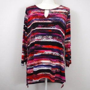 Dana Buchman Stripe Long Sleeve Tunic Top Large